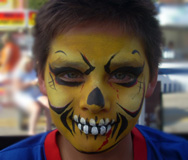 Yellow Skull Face Painting
